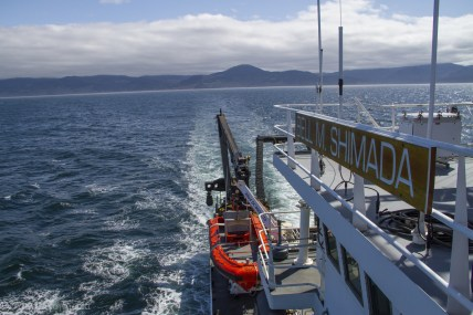 An image of the NOAA ship Bell M. Shimada transiting between stations. Multiple members of the GEMM Lab conducted surveys from this NOAA vessel in 2018. (Image source: Alexa Kownacki)