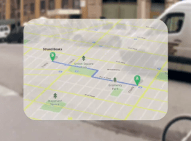 View of directions projected onto Google Glasses