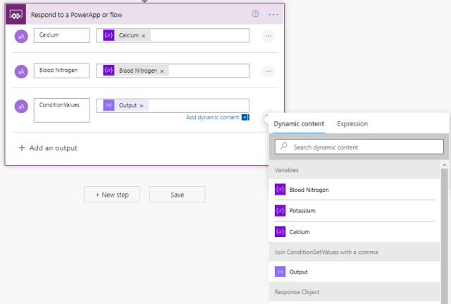 send output to powerapps