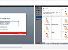 Screenshots of Oracles Desktop Client for iPad