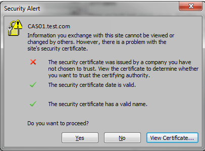 Strangely The Next Day You Receive Reports That End Users Who Use Outlook 2010 Are Receiving A Certificate Error Similar To The Following When They Open