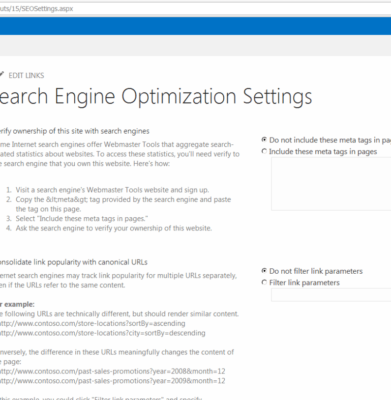 Search Engine Optimization for SharePoint 2013 sites