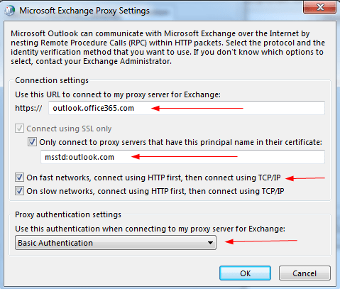 manually configuring outlook for office 365 exchange 2013