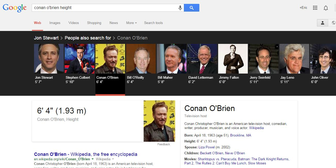 Conan O'Brien Height Carousel