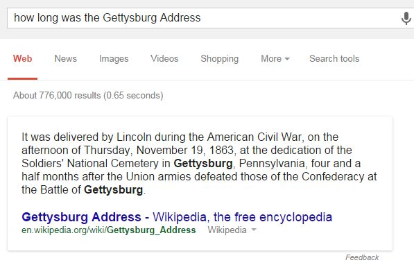 How Long Was the Gettysburg Address Result