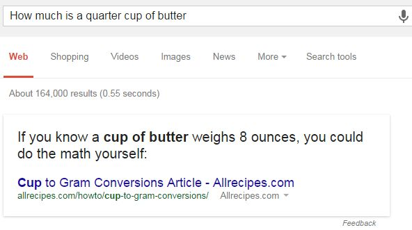 How Much is a Quarter Cup of Butter Search Result