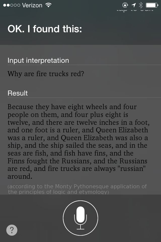 Siri Why are Firetrucks Red Result