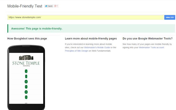 Output From Google's Mobile Friendly Tool