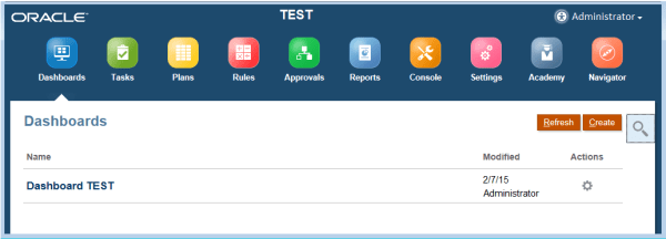 PBCS Dashboards main page
