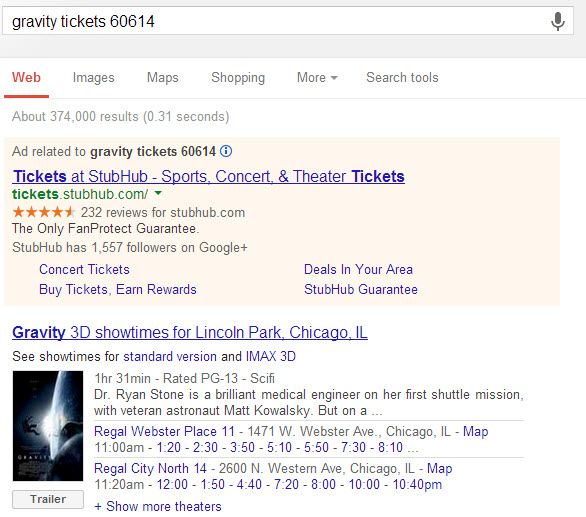 knowledge graph has your movie tickets