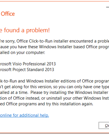 Office 365 - Office ProPlus C2R Not Compatible With MSI