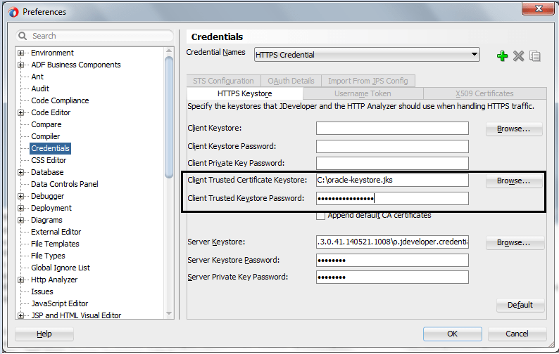 Creating keystore and configuring JDeveloper for Fusion