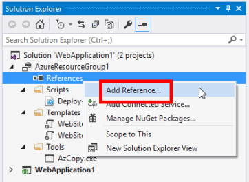 Deploy Azure Web App using ARM Template from Visual Studio