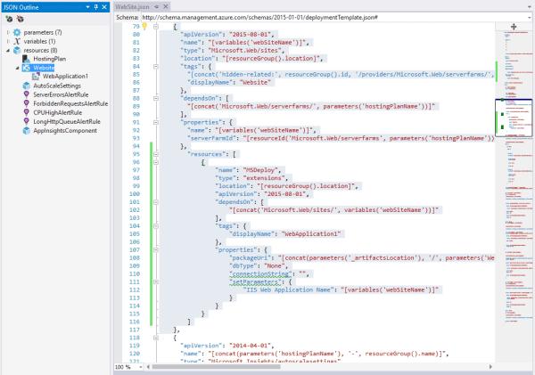 AzureWebAppARMTemplateWebsiteSectionScreenshot