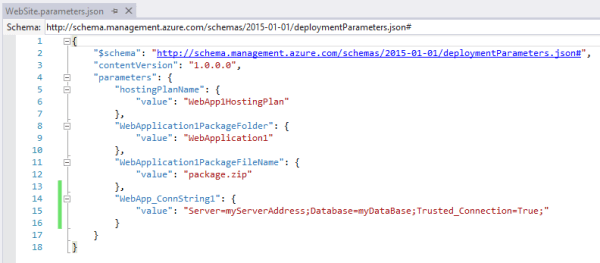 AzureWebAppConnectionStringParametersFileScreenshot