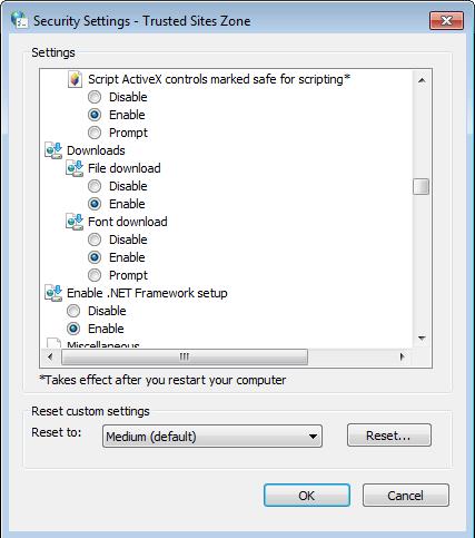 siebel high interactivity framework for ie8 browser settings
