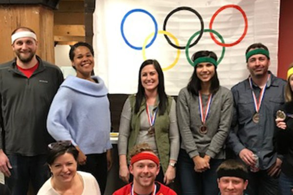 Perficient Minneapolis Office posing for photo at Office Olympics