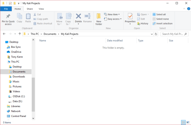 screenshot of initial empty parent folder where projects will be created.