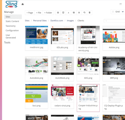 New Sling CMS Grid View