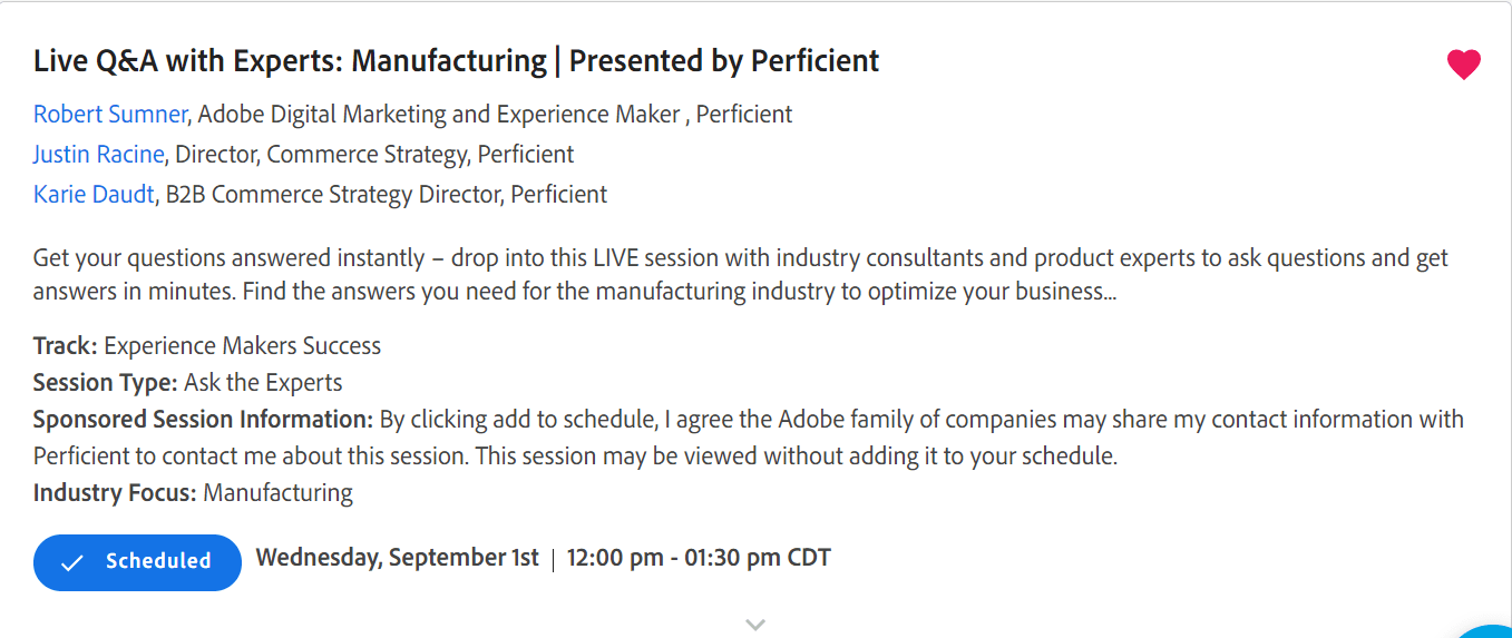 Perficient session at Adobe Experience Makers Live