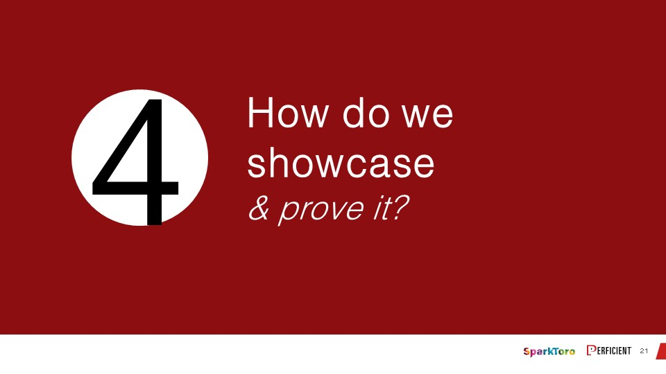 How do we showcase and prove it?