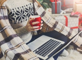 Woman Shopping Online Preparing To Christmas