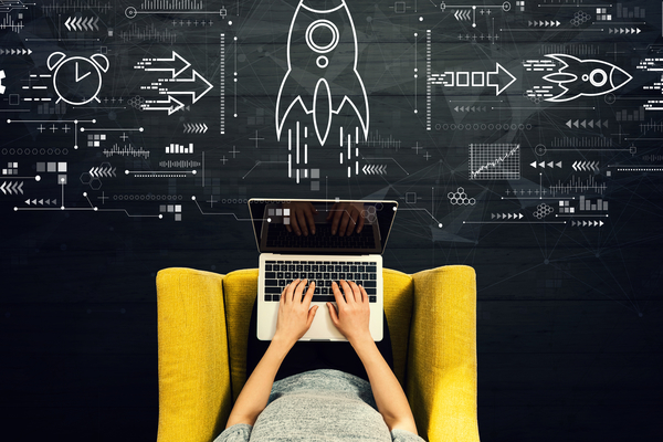 Rapid Growth Concept With Person Using A Laptop