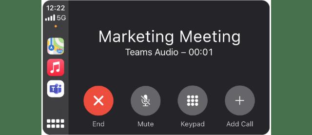 Screengrab of Microsoft Teams Meeting in Apple Carplay