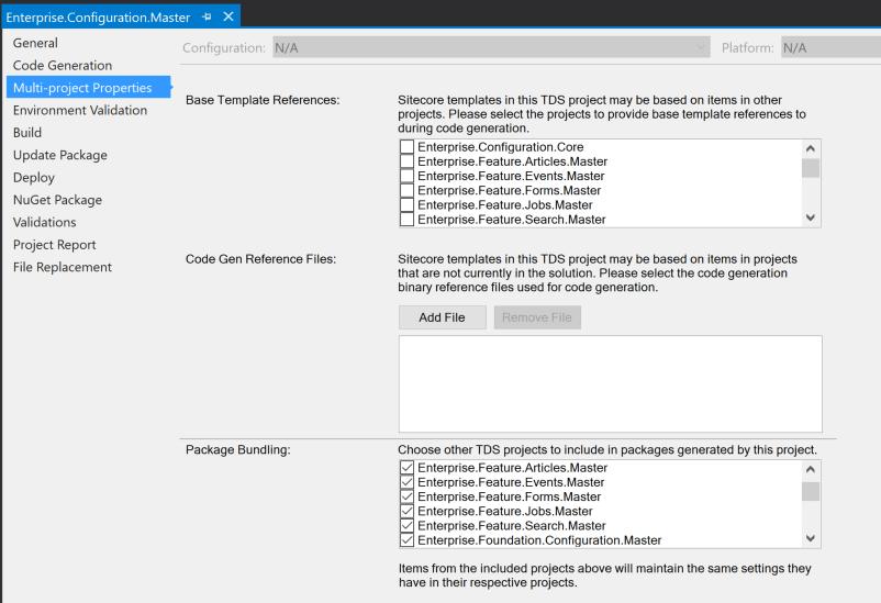 Enterprise Configuration Master / Multi-project Properties screenshot