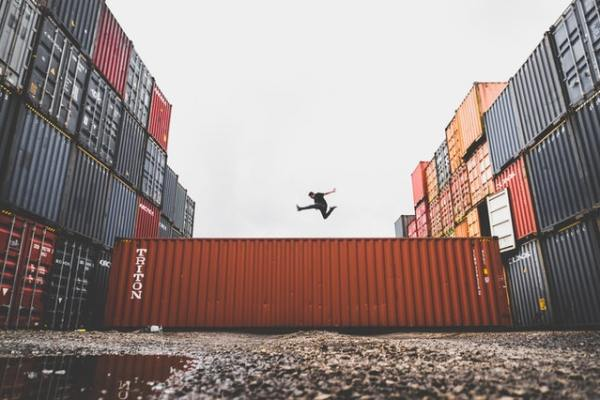 jumping on containers