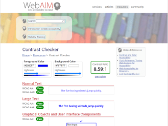 Webaim Color Contrast Checker