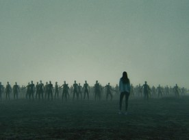 Young Woman Against Zombie Hordes