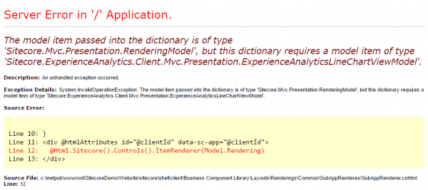 ExperienceAnalyticsLineChartViewModel Exception