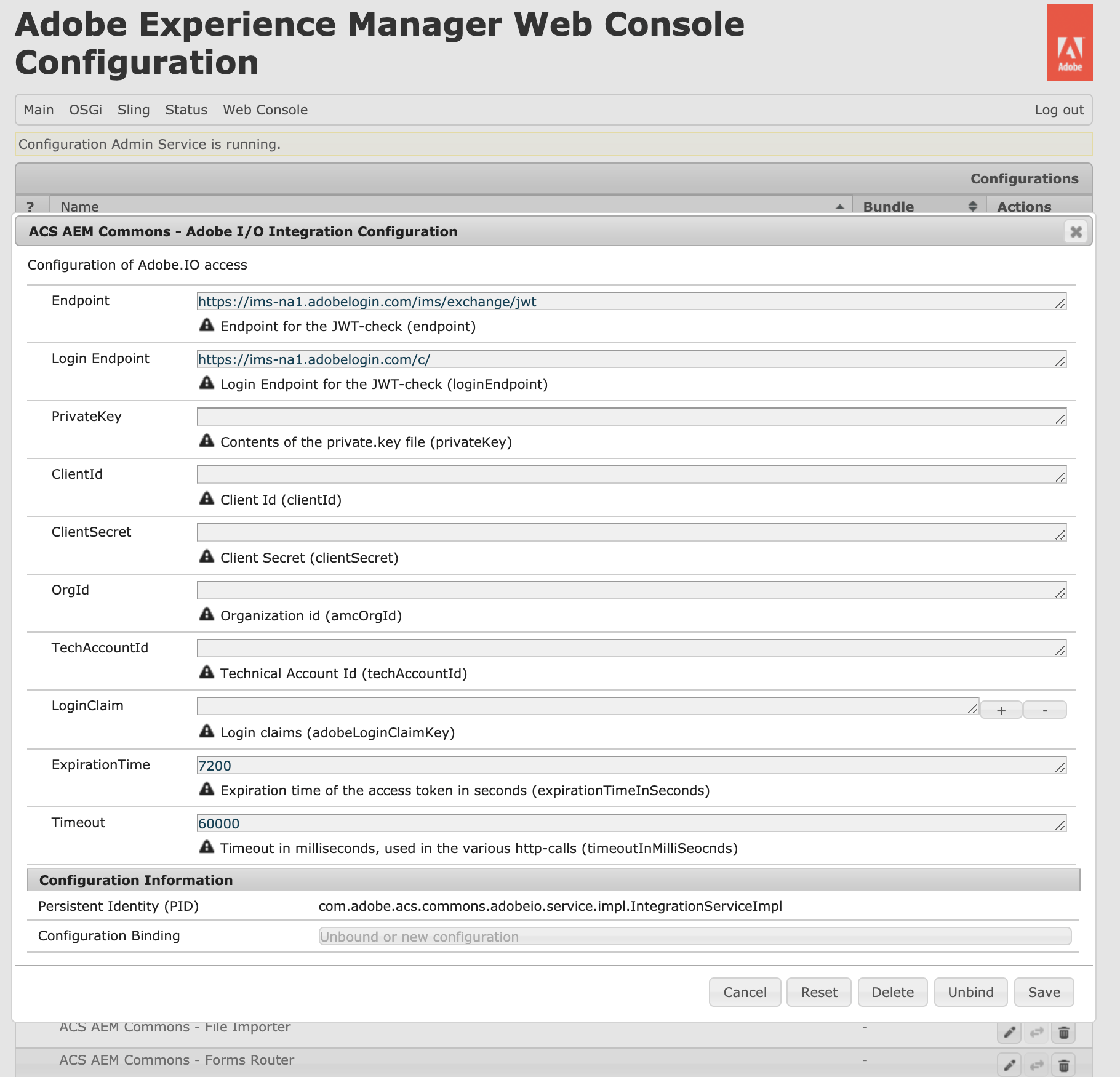 ACS AEM Commons Adobe I/O Integration Configuration OSGi Console
