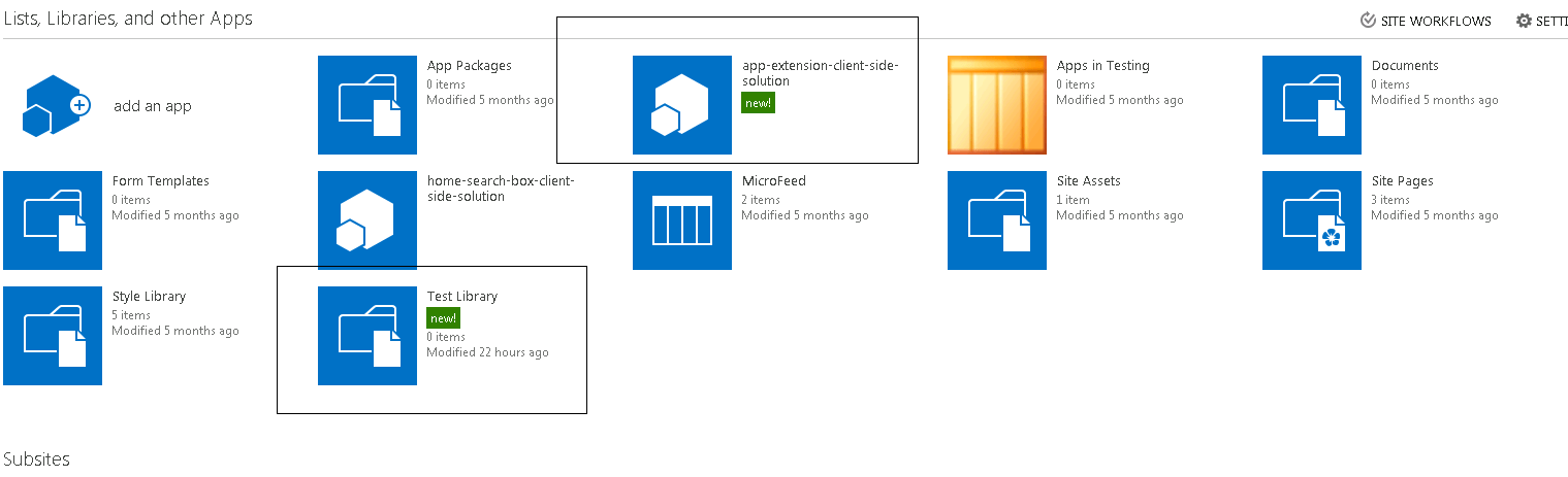 Provision a SharePoint library with SPFx extensions