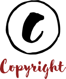 hand drawn copyright symbol and word 'copyright' in cursive script.