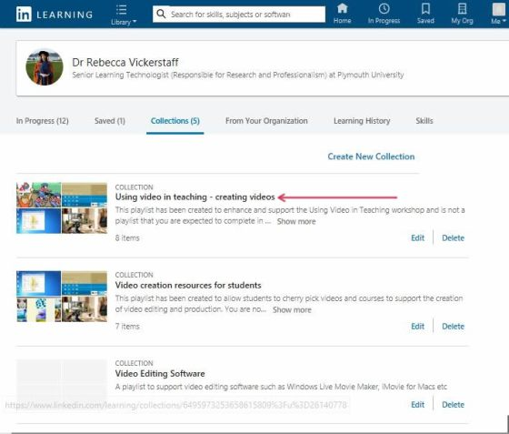 List of Collections in LinkedIn Learning
