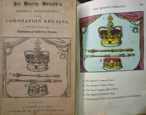 "Front wrapper of 1824 (4th) ed. (left), recycling the 1820 ed. ill., here untitled, of the ""Queen's Regalia"" colored engraving. (right)"