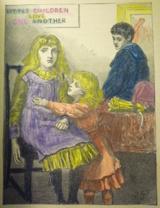 First full-page ill. that is hand-colored (p. [7]), to show two blond girls.