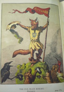 "Frontispiece, ""The Fox Made Knight,"" by Griset, showing Reynard in action."