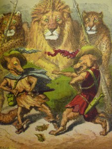 """Plate facing p. 154: """"The Fox Throws Down His Gage"""" challenging the wolf in front of King Lion."""