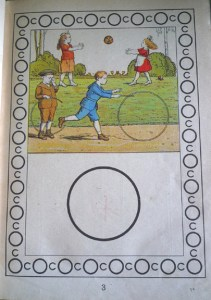 One variation of the illustration image showing children rolling hoops and playing catch