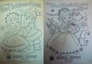 Voss's title page designs for two editions of Little Miss Christmas and Santa.