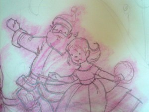 Original Voss artwork showing Santa and Little Miss Christmas.