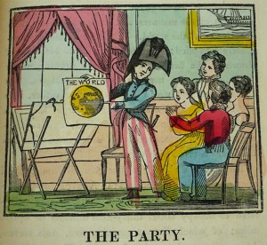 """Teaching Geography: hand-colored wood engraving, """"The Party,"""" from The Little Traveller (Dean & Monday, [ca. 1830])"""
