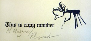 Authors' signatures and copy number, spread 12