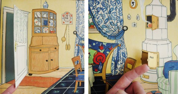 a door flap and an oven door flap in the parlor, spread 3