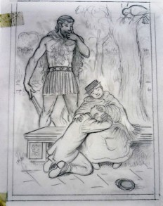 the park keeper cries in the Bird Woman's lap while Orion looks on, (Box 5, File 8). This illustration appears on page 49.