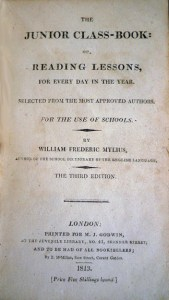 "Title page: ""The Junior Class-Book,"" by William Frederick Mylius (London: M.J. Godwin, 1813) Cotsen new accession."