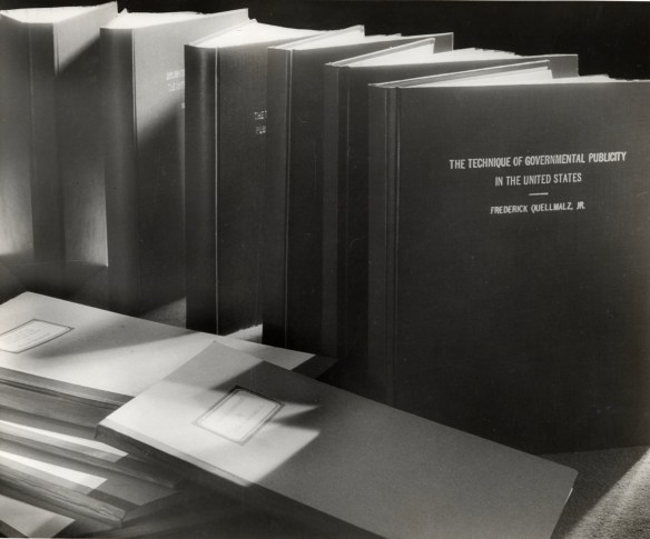 Senior Theses lined up for exhibit. Historical Photograph Collection, AC112, MP012, Image 765
